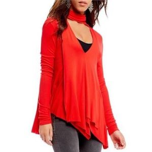 NWT Free People Brilliant Red Choker Tunic